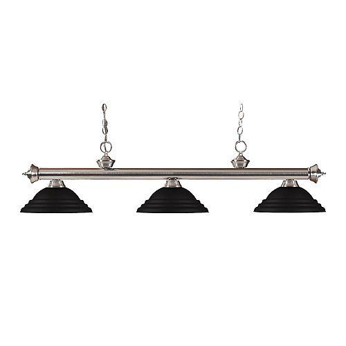 Filament Design 3-Light Brushed Nickel Billiard with Matte Black Steel Shade - 55 inch