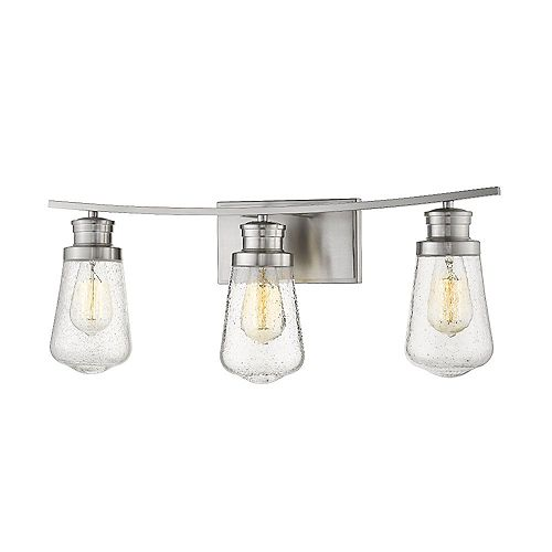 Filament Design 3-Light Brushed Nickel Vanity with Clear Seedy Glass- 6.5 inch