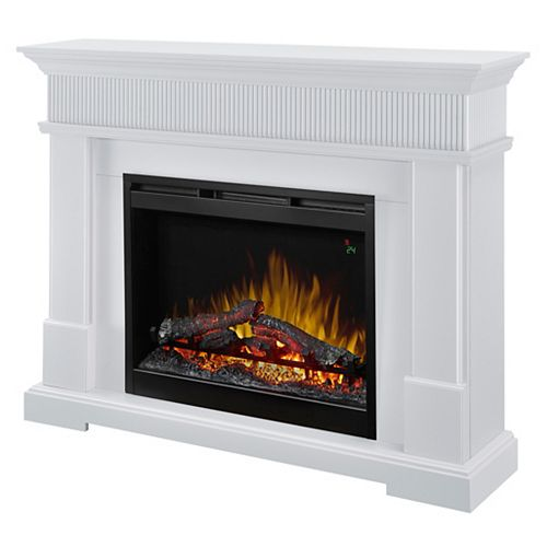 Jean 49-inch Freestanding Mantel Electric Fireplace with 28-inch Logs in White