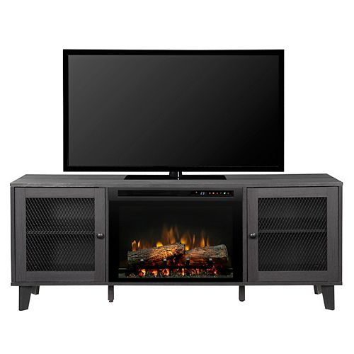 Dean 65-inch Media Console in Wrought Iron with a 26-inch Electric Fireplace with Logs
