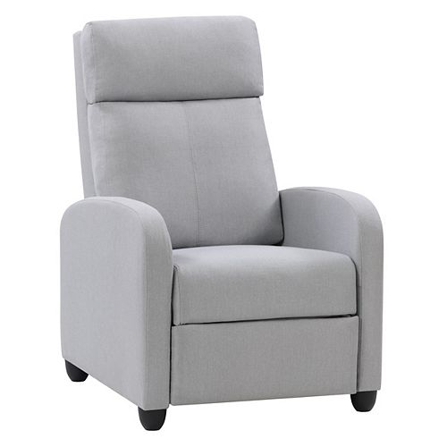 Fauteuil inclinable avec repose-pied extensible, tissu gris clair