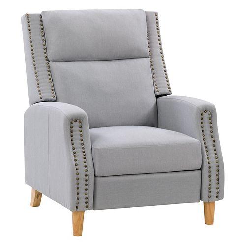 Fauteuil inclinable avec repose-pied extensible et finition cloutée, tissu gris clair
