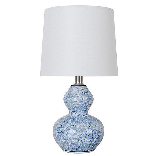Lampe de table en céramique à motif floral bleu 15,75 avec abat-jour en tissu blanc