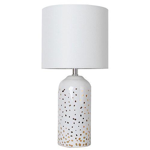 Lampe de table en céramique blanche 17,5 avec abat-jour en tissu gris chiné doré