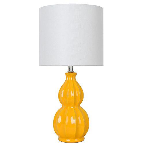 Lampe de table en céramique jaune curcuma 17,5 avec abat-jour en tissu blanc