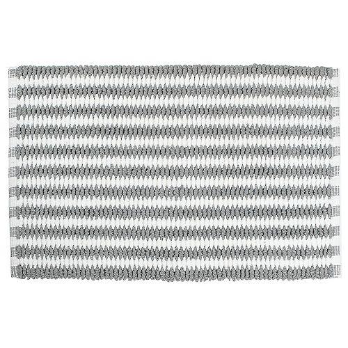 Handwoven Cross Weave Bath Mat (Gray/White) (20 X 32)