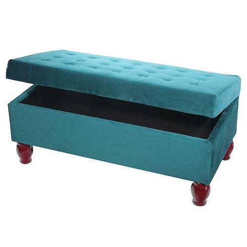Velvet Tufted Storage Bench Ottoman  Teal