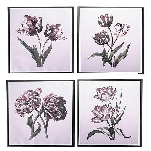 Framed Canvas Wall Art (Viola Florals) (Asstd)