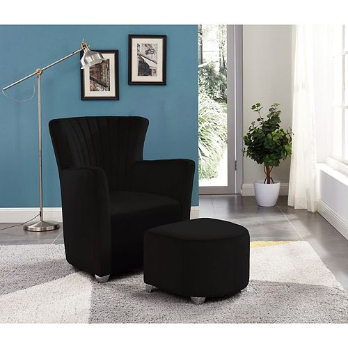 Relax Armchair With Foot Stool (Black)
