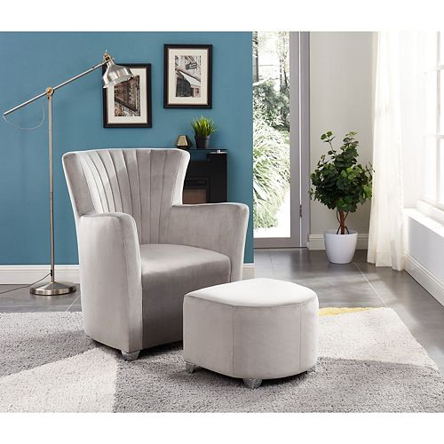 Relax Armchair With Foot Stool (Gray)
