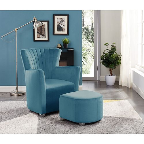 Relax Armchair With Foot Stool (Teal)