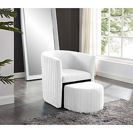 Relax Barrel Chair With Foot Stool (Beige)