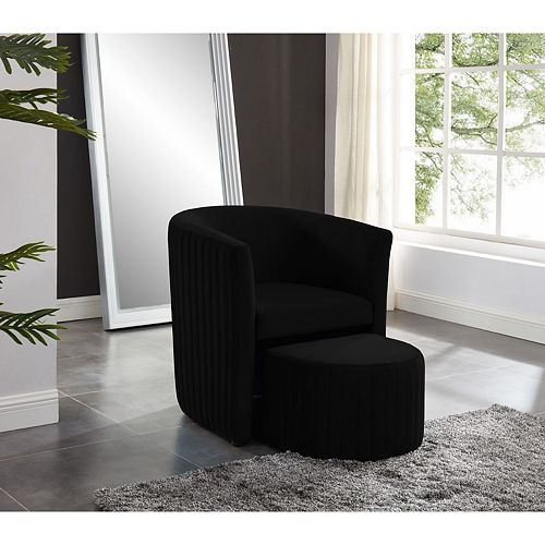 Relax Barrel Chair With Foot Stool (Black)