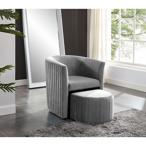 Relax Barrel Chair With Foot Stool (Gray)