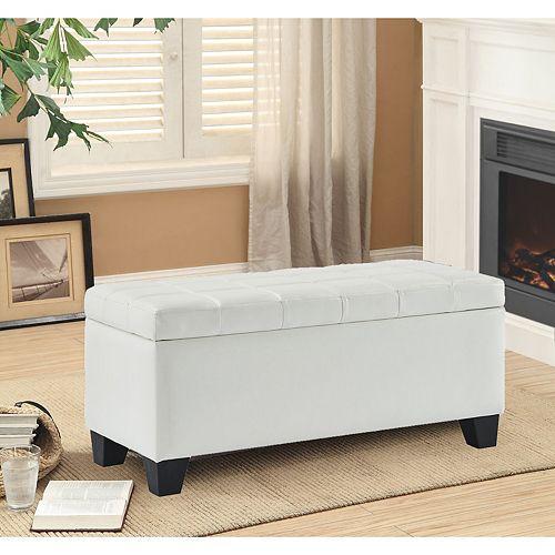 Pleather Impression Bench With Storage (White)