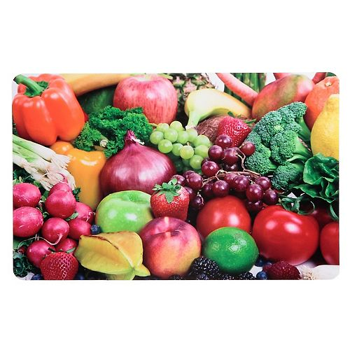 IH Casa Decor Plastic Placemat (Rainbow Produce) - 10.75 X 16.75 In. (Set Of 12)
