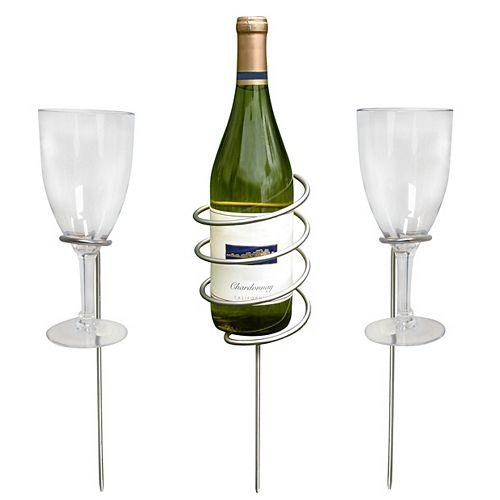 Bouteille de vin et pieux en verre