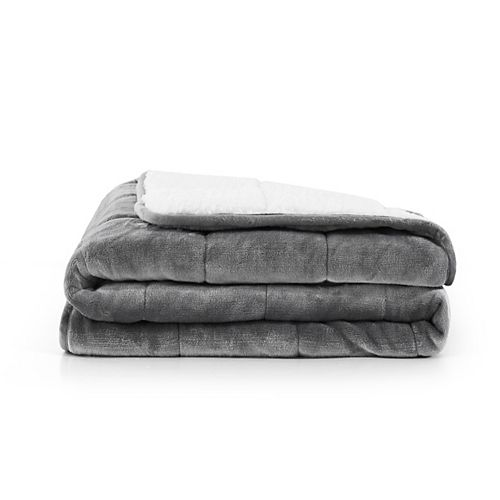 Solid Shiny Velvet Reversible to Sherpa Weighted Throw 10 lbs Grey