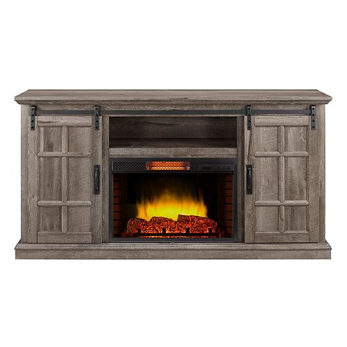 Baybrook 64-inch Infrared Media Electric Fireplace in Aged Oak Finish