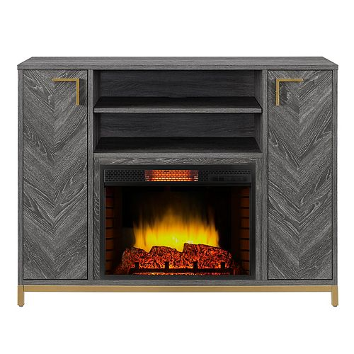 Norlington 48-inch Infrared Media Electric Fireplace in Rustic Grey Finish