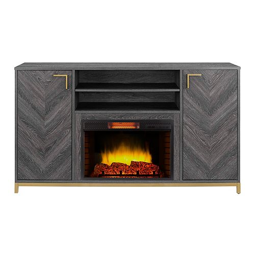 Norlington 64-inch Infrared Media Electric Fireplace in Rustic Grey Finish