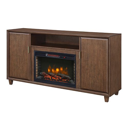 Wedgeport 64-inch Infrared Media Electric Fireplace in Cherry Finish