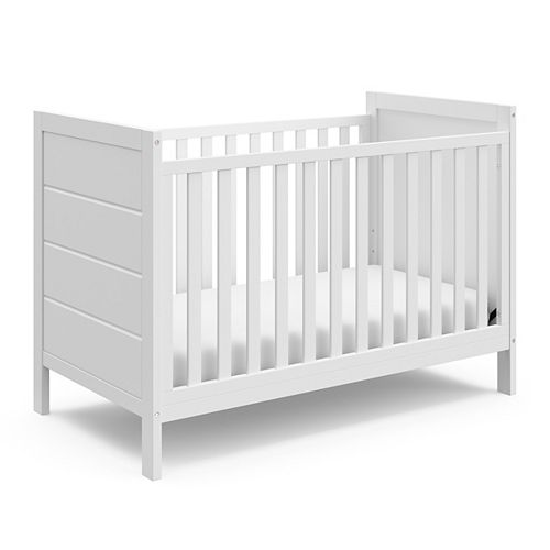 Nestling 37.28-inch x 29.53-inch x 53.94-inch Pine Wood 3-in-1 Convertible Crib in White