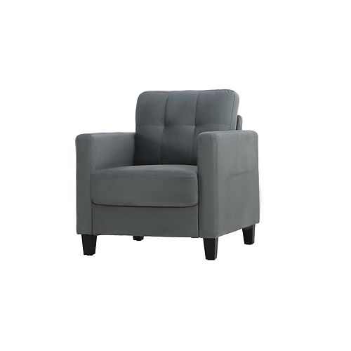 Towson Chair w/ Upholstered Microfiber Fabric and Eucalyptus Wood, Dark Grey
