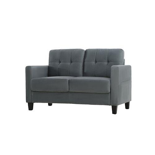 Towson Loveseat w/ Upholstered Microfiber Fabric and Eucalyptus Wood, Dark Grey