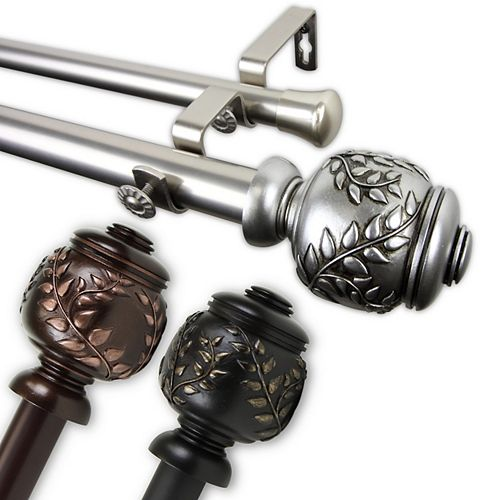 """1 in Dia Adjustable 120"""" to 170"""" Double Curtain Rod with Coletta Finials in Satin Nickel"""