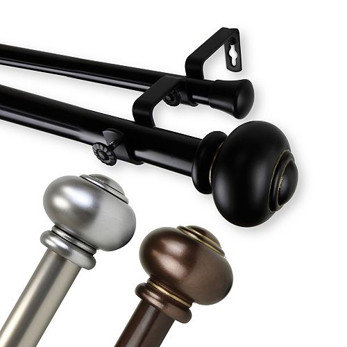 """1 in Dia Adjustable 160"""" to 240"""" Double Curtain Rod with Rotunda Finials in Bronze"""