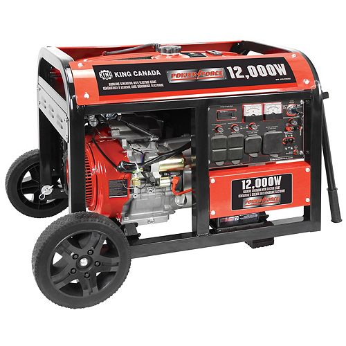 King Canada 12000W Gasoline generator with electric start & wheel kit