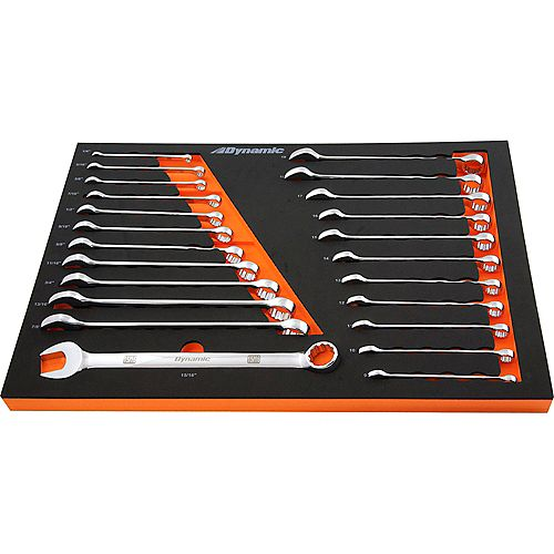 24 Piece SAE & Metric Chrome Combination Wrench Set With Foam Tool Organizer