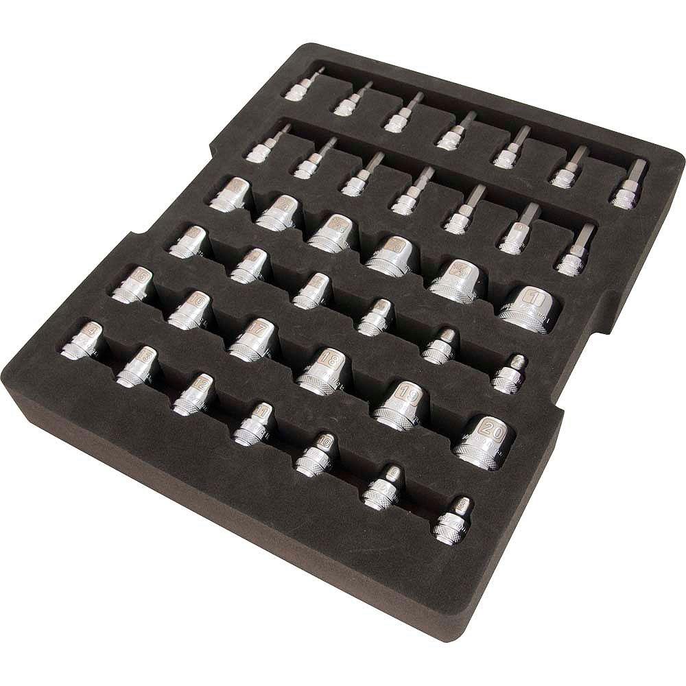 DYNAMIC TOOLS Jeu de douilles, prise 3/8 po, chrome, avec plateau de rangement en mousse, 40 pieces