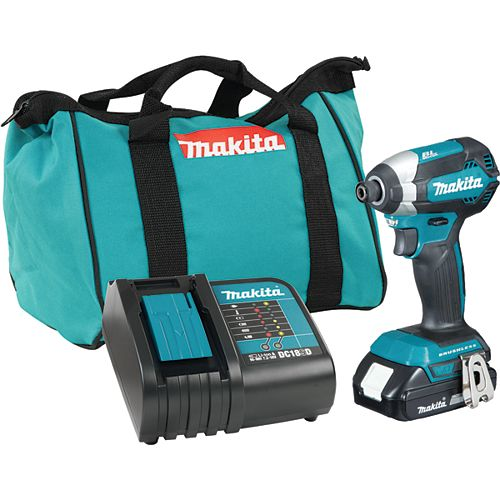 MAKITA 18V Lithium-Ion Brushless Cordless 1/4-inch Impact Driver with (1) Battery 1.5 Ah, Charger & Tool Bag
