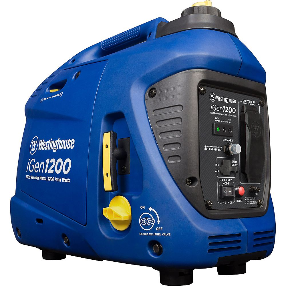 Westinghouse iGen1200 1,200/1,000 Watt Gas Powered Portable Inverter Generator with Enhanced Fuel Efficiency
