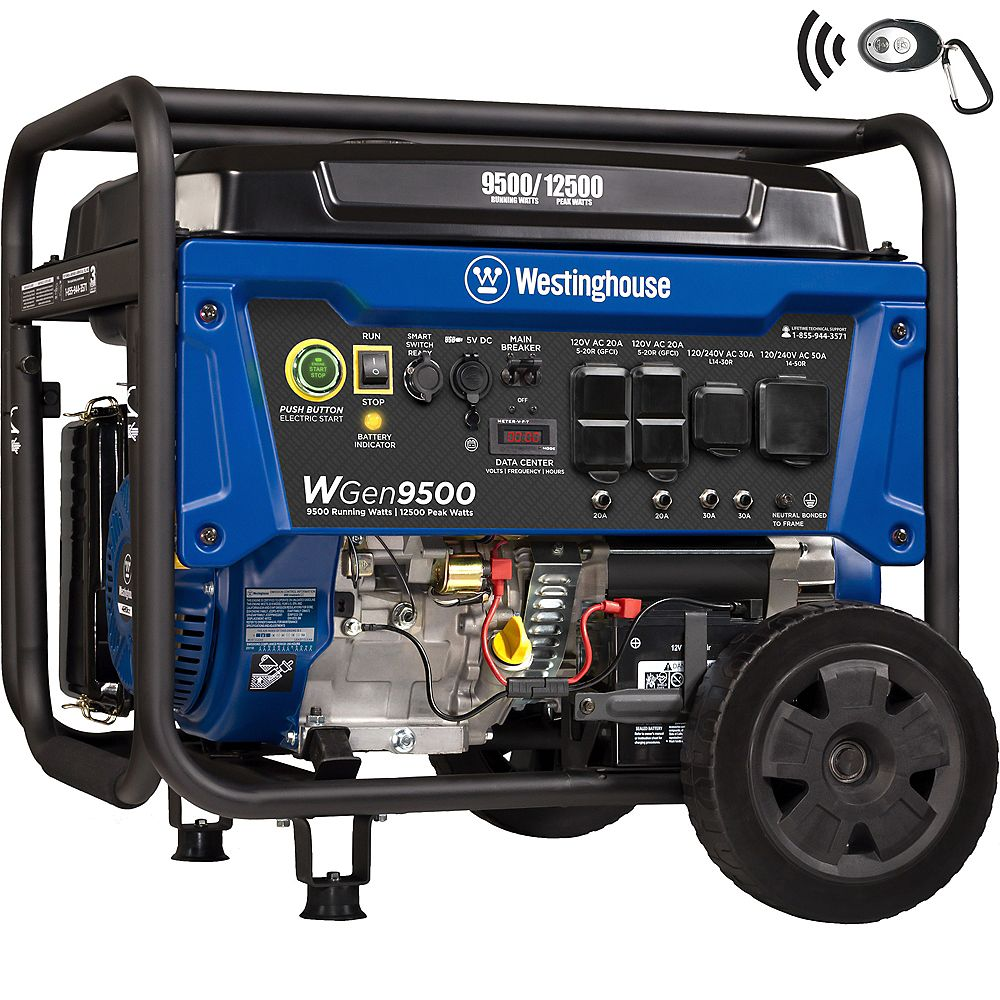 Westinghouse WGen9500 12,500/9,500 Watt Gas Powered Portable Generator with Remote Start & Transfer Switch Outlet