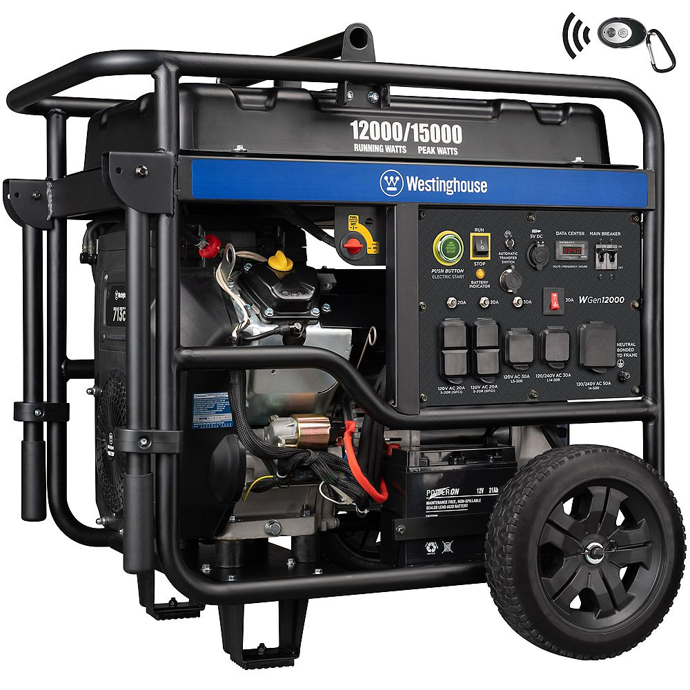 Westinghouse WGen12000 15,000/12,5000 Watt Gas Powered Portable Generator with Remote Start and Smart Idle