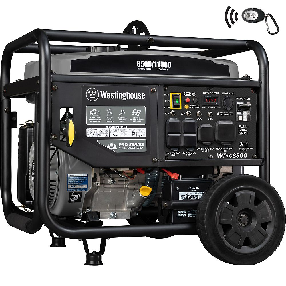 Westinghouse WPro8500 11,500/8,500 Watt Industrial Portable Generator with GFCI Protection and Remote Start