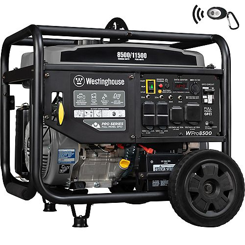 WPro8500 11,500/8,500 Watt Industrial Portable Generator with GFCI Protection and Remote Start