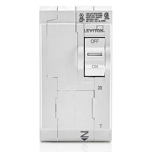 Leviton 2-Pole 20A 120/240V Thermal Magnetic Plug-on Circuit Breaker