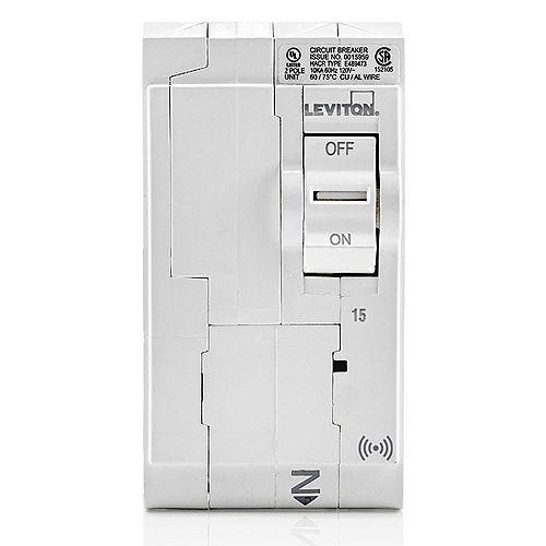 Leviton 2-Pole 15A 120/240V Hydraulic Magnetic Plug-on SMART Circuit Breaker