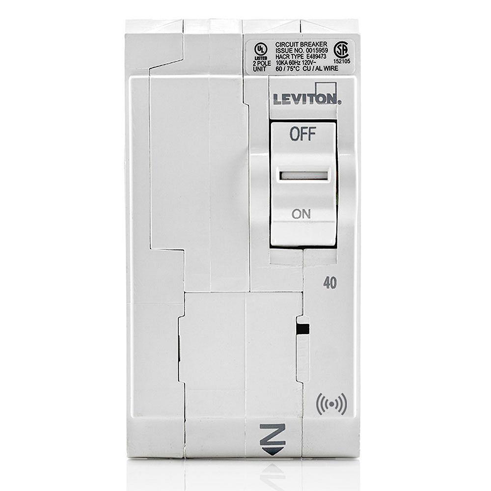 Leviton 2-Pole 40A 120/240V Hydraulic Magnetic Plug-on SMART Circuit Breaker