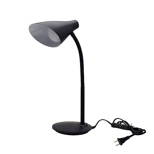 19.6-inch Plastic Black LED Desk Lamp with Flexible Goose Neck Arm