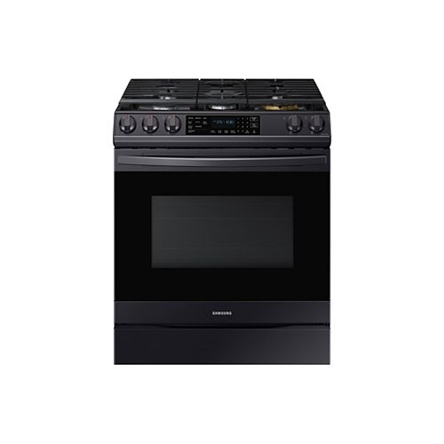 6.0 cu.ft. Slide-In Single Oven Gas Range with True Convection Oven in Black Stainless Steel