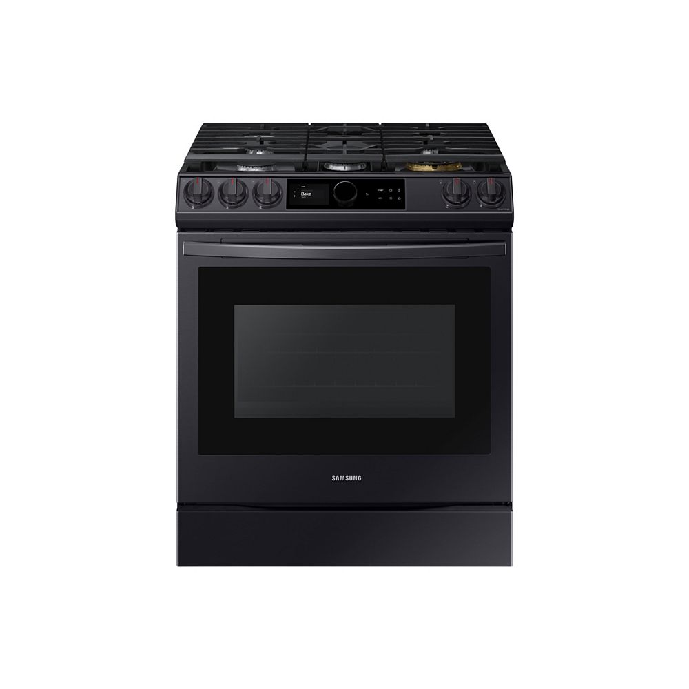 Samsung 6.0 cu.ft. Slide-In Single Oven Gas Range with Air Fry in Fingerprint Resistant Black Stainless Steel