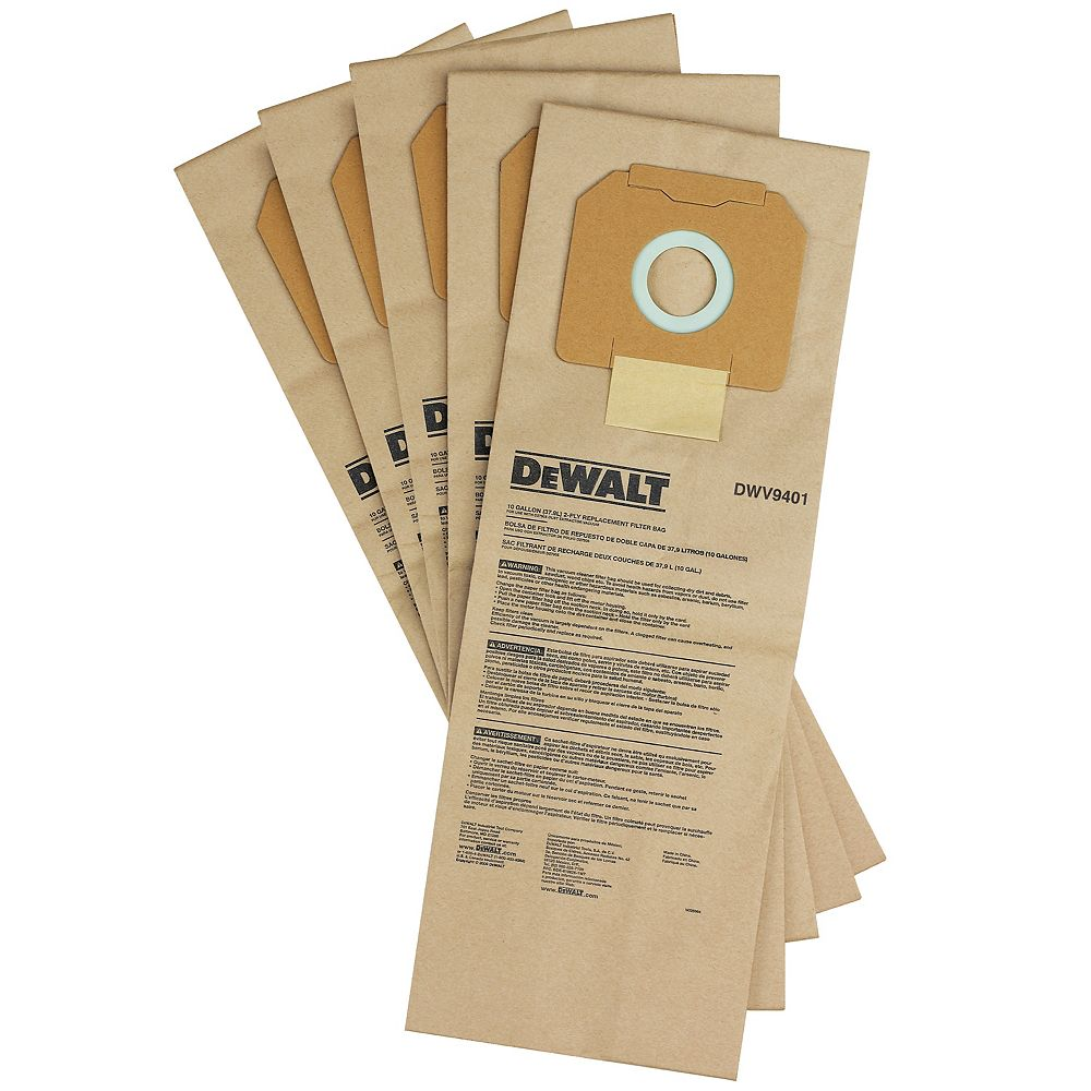 DEWALT PAPER BAG (5 PACK) FOR DUST EXTRACTORS