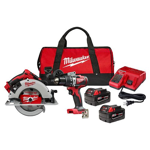 M18 18V Li-Ion Brushless Cordless Hammer Drill and Circular Saw Combo Kit with (2) 4.0 Ah Batteries
