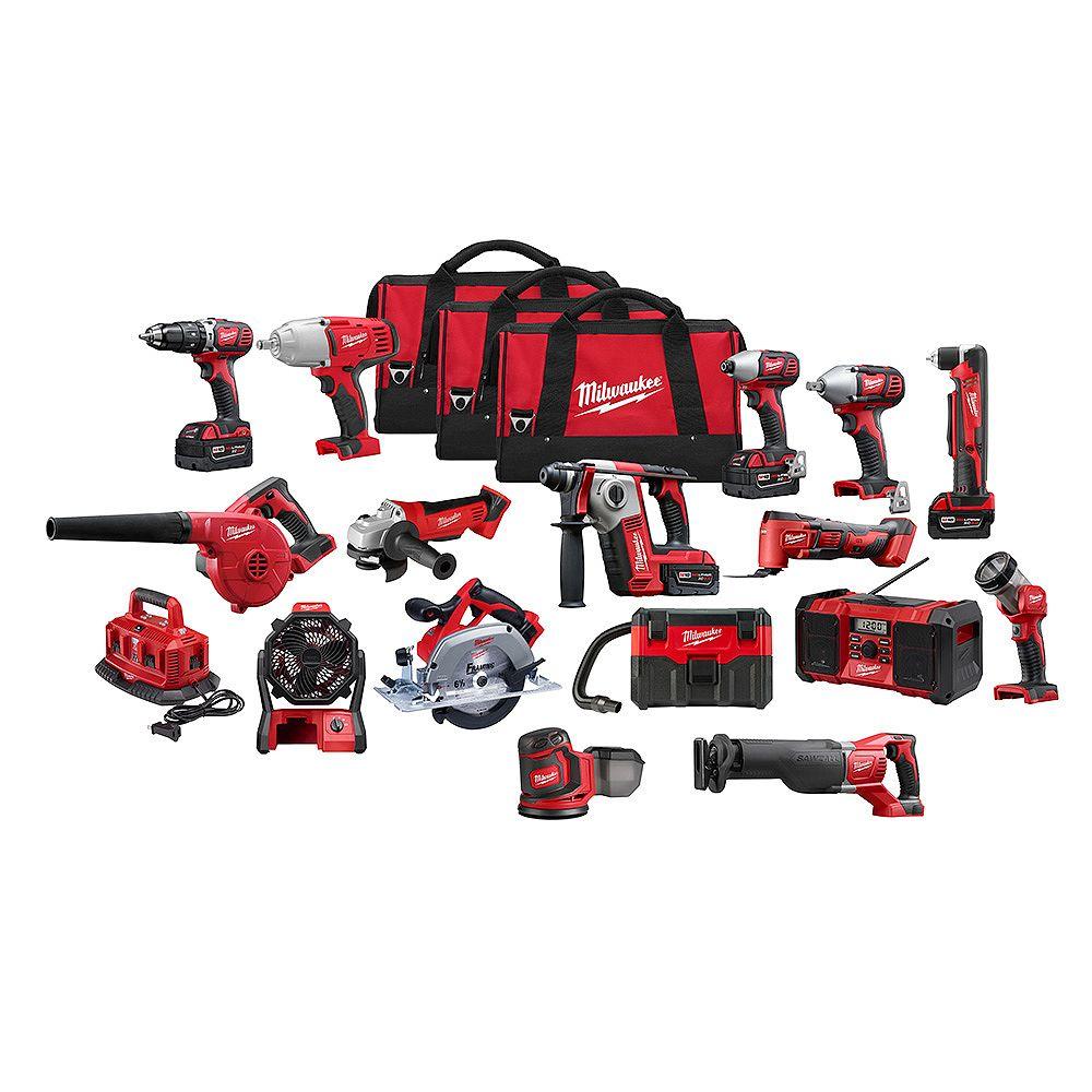 Milwaukee Tool M18 18V Li-Ion Cordless Combo Tool Kit (16-Tool) with (4) 3.0 Ah Batteries, 1 Charger, (3) Tool Bags