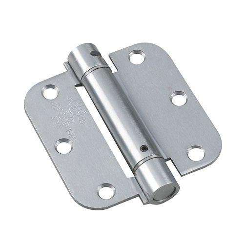 Charnière à ressort réglable de 3 1/2 po (88,9 mm) à mortaiser, Chrome brossé, Rayon de 5/8 po